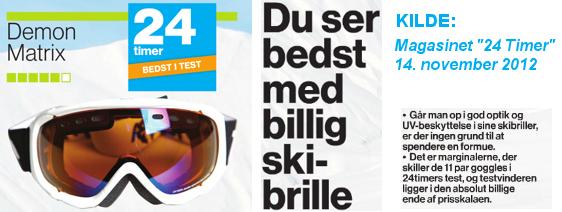 Demon Matrix skibriller er testet i magasinet 24 timer