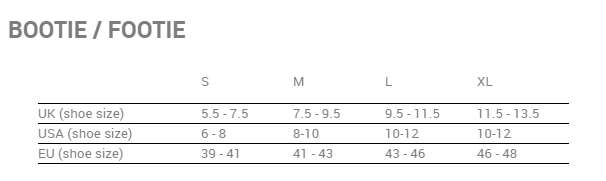 3ba5f38c Montane bootie størrelsesguide / size chart / storleksguide ...
