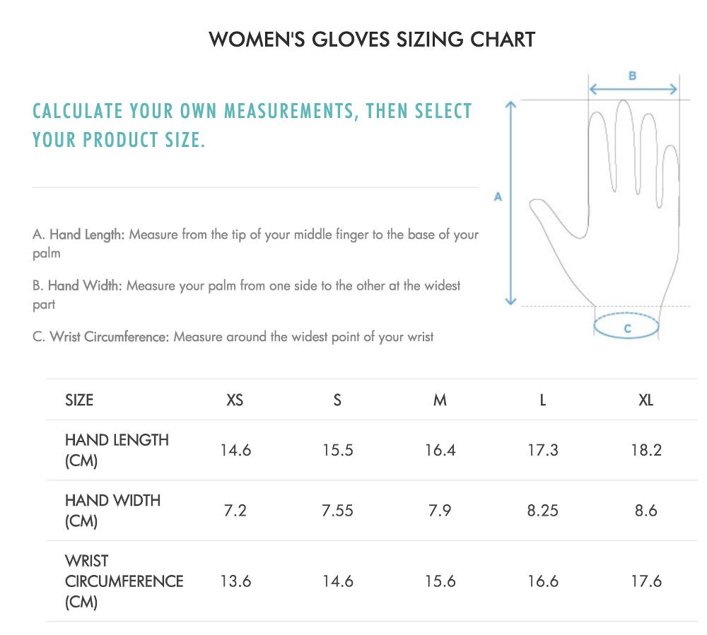 57d71438 Salomon dame handsker/gloves størrelsesguide / size chart / storleksguide -  Skiwear4u.dk